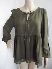 ALTAR'D STATE XS MILITARY OLIVE GREEN PEASANT TOP shirt blouse boho long lace
