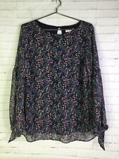H&M Mama Maternity Womens Size M Chiffon Pull Over Floral Blouse Top Tie Sleeves