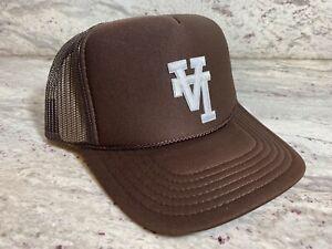 UPSIDE DOWN LA BROWN CAP HAT 5 PANEL HIGH CROWN TRUCKER SNAPBACK VINTAGE