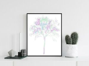 Personalised A4 Word Art Family Tree Birthday Gift Photo Picture Print Image