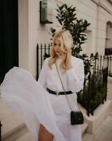 ZARA POPELIN KLEID MAXI PLISSEE WHITE LONG PLEATED POPLIN SHIRT DRESS 2223/648