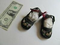 RARE, Tiny Antique Victorian Satin Girl's Slippers, Booties, Shoes, Baby, 1890