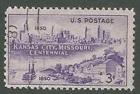 USA Scott 994, Kansas City, MO Centennial, Skyline & Westport Landing, Used 1950