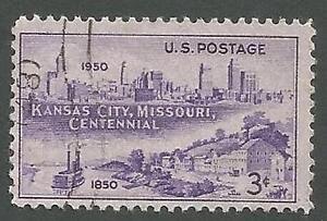 USA Scott 994, Kansas City, MO Centennial, Skyline & Westport Landing, Used 1950