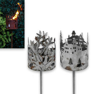 Große Edelrost-Gartenfackel, 2 Designs, rund, ca. 130 cm