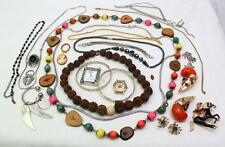Group Lot Vintage Costume Jewelry Enamel Horse Pin Wood & Seed Necklaces Cameo