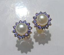 Ohrringe Diamanten Zuchtperlen 585er Gelbgold Tansanite AAA Neu