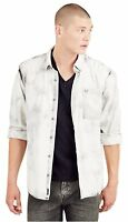 True Religion Men's Loose Fit Tie Dye Bleached Button Up Shirt in Washed Black