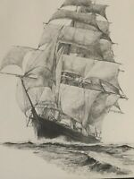 Robert Winter Cato Vintage Sketch Drawing Tall Ship Nautical Framed. Rare Find