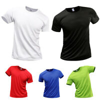 Mens Mans Breathable Quick Dry Athletic Wicking Smooth Polyester T-Shirt Tee