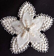 Ivory White 3D Diamante Bridal Star Flower Embroidery Applique Motif Lace EB0342