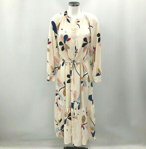 New Baukjen Indi Dress Size UK 14 Cream Multi Midi Relaxed Pattern Casual 025658