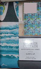 SURF'S UP SHOWER CURTAIN POLYESTER FABRIC TEAL BLUE GREEN PALM TREES BOARDS NEW