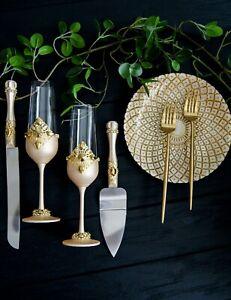Ivory and Gold wedding toast flute Cake server set Wedding Plate and Forks