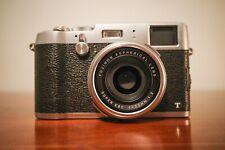 Fujifilm X100T 16.3MP Digital Camera, Silver, w/ half case, batteries, charger