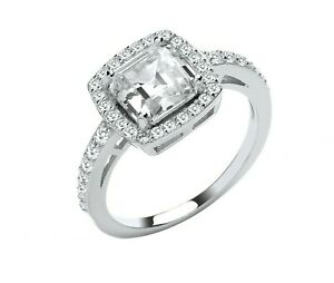 Sterling Silver 925 Halo Engagement Ring - ALL SIZES AVAILABLE