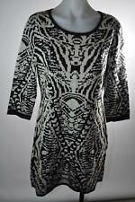 Papillon Sweater Dress Tiger Knit Black White Sparkle Fitted Long Sleeve Size XL