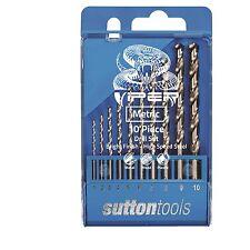 Sutton Tools VIPER METRIC DRILL BIT SET 10Pcs 118 Deg Split Point *Aust Brand