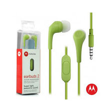 OEM Motorola Hands Free 3.5mm Earbuds 2 Premium Stereo W/Remote and Mic Green