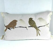 Pottery Barn Beaded Birds on Tree Branch Cotton Linen Lumbar Couch Pillow