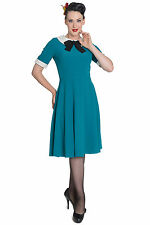 Sale ! XS 8 10 Green Vintage Collared Dress Hellbunny Teal Wednesday Adams Work