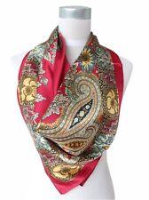 Carré Foulard 100%  Soie Thème Cachemire Rouge - Silk séide scarf shawl