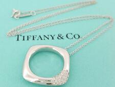 "Tiffany & Co. 18K White Gold Round Diamond Pave Square Pendant / Necklace 16"""