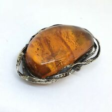 Vintage Sterling Silver Huge Baltic Amber Brooch Must See Authentic
