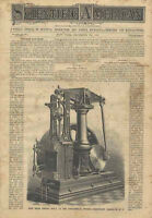 1881 Beam Engine Engraving Old Continental Works Brooklyn NY Scientific American