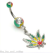 Rasta Pot Leaf Jamaican Gem Belly Ring Navel (w461)