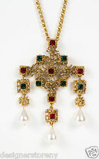 Kenneth Jay Lane Antique Gold Emerald/Ruby Cross Pearl Drop Pendant Necklace