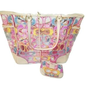 Coach Transparent Clear Pink Colorful Scribble Signature XL Beach Tote Wristlet
