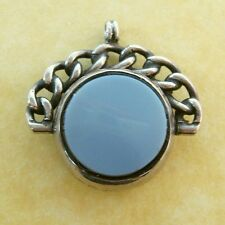 Antique Victorian Sterling Silver Chalcedony Spinner Watch Fob Charm Rope Detail