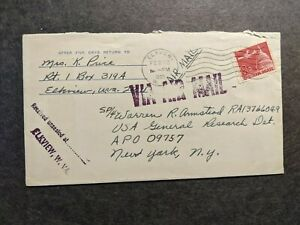 APO 09757 FRANKFURT, GERMANY 1965 Army Cover Soldier's Mail w/ official seal