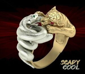 New Snake Tiger Fighting Gold Biker Gothic Silver Mens Ring