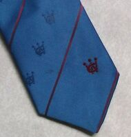 Vintage Tie MENS Necktie Crested Club Association Society BLUE RED