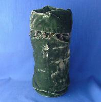 "Pottery Barn forest green crushed velvet wine gift bag with beaded dangles 12"""