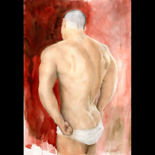 Painting gay NUDE male LARGE Ox Blood 2/35/50 Esteban Realism Signed FREE SHIP