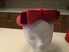 Ladies Vintage Hat Pink Red Woven Straw W/ Double Bow.  Really Pops!