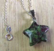 STERLING SILVER PENDANT WITH RUBY IN FUSCHITE GEMSTONE STAR