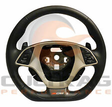 2015-2018 C7 Corvette Z06 Steering Wheel Manual Black Leather Kalahari Stitching