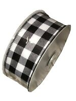 "Wired Ribbon Black/White Plaid 2.5"" x 5 yards BTY"