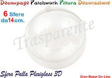 NATALE PALLA SFERA PALLINA PLEXIGLASS 6 Pz DIAM CM 14 DECOUPAGE PATCHWORK