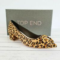 Top End Size 38 Leather Cheetah Pony Hair Pointed Toe Court Heels Pumps Shoes