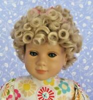 Vicky Pale Blond Full Cap Doll Wig SZ 14-15  Short Curly
