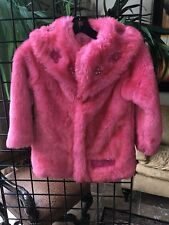Girl's Size 5 Pampolina Hot Pink Faux Fur coat