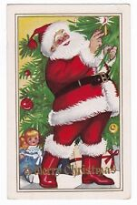 Merry Christmas -SANTA LIGHTING CANDLE ON TREE - Embossed Postcard