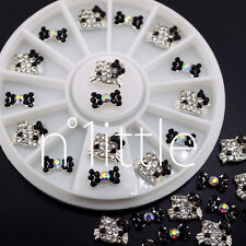3D Nail Art Deco Hello Kitty & Bow Alloy Jewelry Glitter Rhinestone+Wheel NU-022