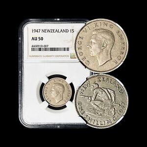 1947 New Zealand Shilling - NGC AU50