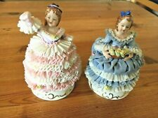 Beautiful pair of MZ Dresden pink & blue porcelain lace lady figurines - 11cm
